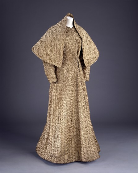T.235-1976; T.235A-1976 Ensemble of evening coat & stole; plaited gilt braid; by Schiaparelli; French (Paris); c.1938.